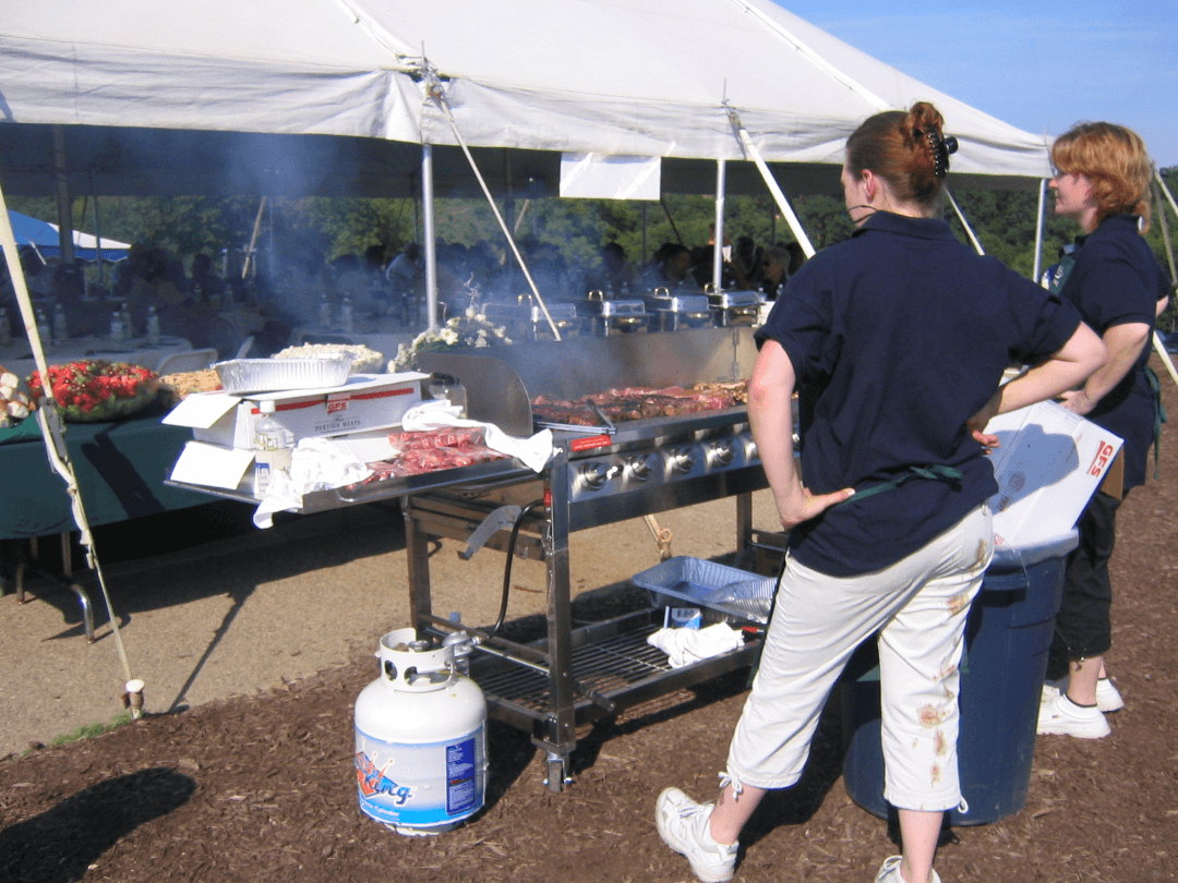cooking at tent